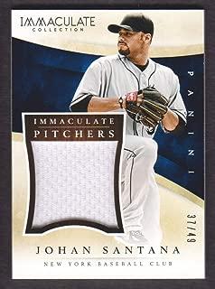2014 Immaculate Collection Baseball Pitchers Memorabilia #12 Johan Santana Jersey 37/49 New York Mets