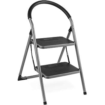 VonHaus Escalera De Acero Premium de 2 Escalones - Antideslizantes - Diseño Plegable Fácil De Guardar - Ideal Para El Hogar/Cocina/Garaje - Acero Resistente Fuerte: Amazon.es: Bricolaje y herramientas