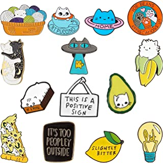14 Pieces Cute Enamel Pin Lapel Pins Mini Cartoon Brooches Badges for Jacket Backpack Shirt Hat Accessory