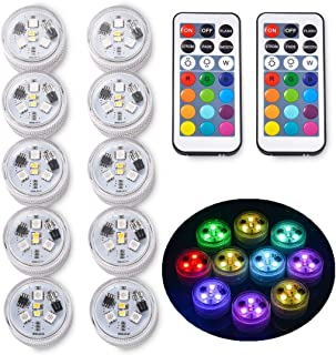 10pcs RGB Underwater LED Lights Submersible Multicolor 100% Waterproof LED Candle Tealight CR2450 Mood Light Battery Powered with IR Remote Control for Vase Bowls Swimming Pool