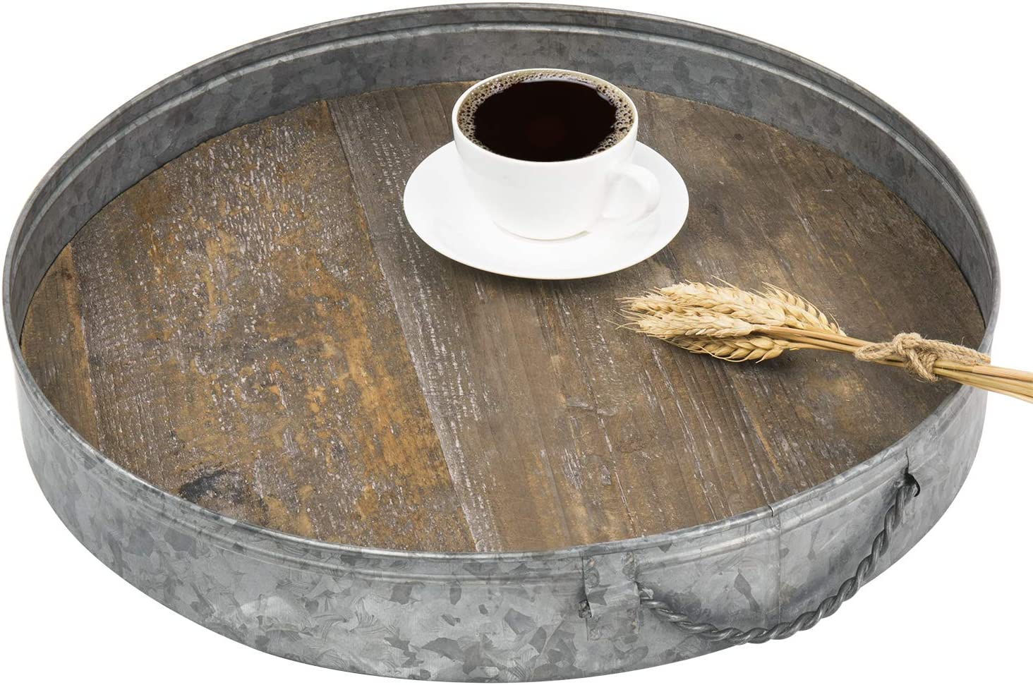 MyGift 17-Inch Round Rustic Galvanized S Wood Fixed price for sale Metal Max 53% OFF Distressed