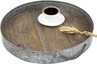 MyGift Rustic Galvanized Metal & Distressed Wood Round Serving Tray
