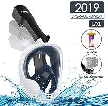 AGM Máscara de Buceo, Máscara Snorkel 180° Tecnología Panoránica, Máscara de Esnórquel Cara Completa, Cámara Instalable Adecuado Anti-Niebla y Anti-Fugas para Adultos y Niños