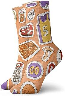 tyui7, Calcomanías de baloncesto de dibujos animados Calcetines de compresión antideslizantes Cosy Athletic 30cm Crew Calcetines para hombres, mujeres, niños