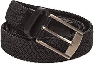Hawkdale Elasticated Fabric Womens Weaved Stretchy Belt With Leather Keeper 1.25'' Width # 8R-F29