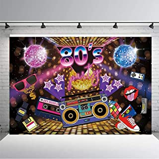 KSZUT 80s Party Backdrop Disco Theme Retro Style Photo Backdrop 7x5 80's Birthday Background Sign Hip Hop Disco Backdrops for Photography