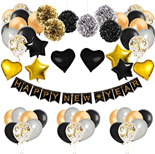 New Year Ribbon - New Years Eve Party Suppliestions Kit, Colorful Balloons Sets, Paper Pom Poms with New Year/Birthdaytion Banner for Party Supplies, Hometions (59 PCS)