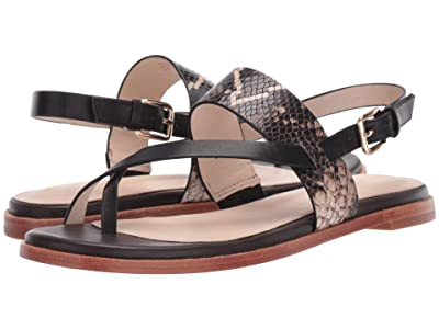 Cole Haan G.OS Anica Thong Sandal (Black Multi Snake Print/Black/Java Leather) Women
