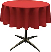 LA Linen Polyester Poplin Tablecloth 51-Inch Round, Red