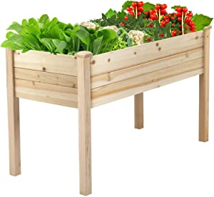 Aoxun Raised Garden Bed for Planting Flower Vegetable Fruit ,48 x 24 x 30 inch Outdoor Elevated Wood Planter Box with Legs in Patio Backyard Balcony Outside, 200lb Capacity