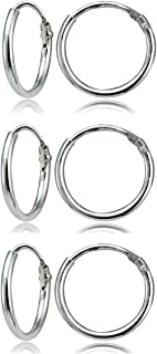 Sterling Silver Small Endless 10mm Round Unisex Hoop Earrings, Set of 3 Pairs