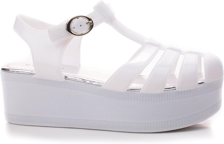 Sully's Bamboo Womens Klarissa-01 Jelly Fisherman Slingback Wedge Heel Platform Sandal,White PVC,7