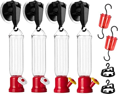 lowest Hummingbird Feeder with 4 Window Mount online sale Suction Cup Accessories, 2 Connectors and 2 Hooks, 4Pack online Mini Hanging Flower Bird Feeders for Outdoors, 2.2 oz/Pc online
