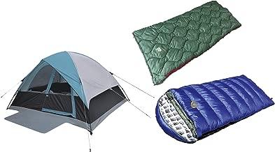 Alpinizmo High Peak USA Kodiak 0F & Ranger 20F Sleeping Bags One 6 Men Tent Combo Set, Blue/Green, One Size