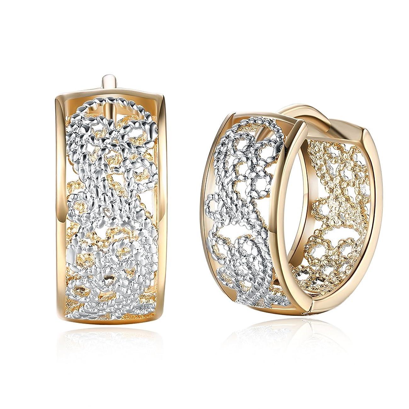 Dainty 14K Gold Silver Wide Filigree Hoop Earrings for Womens Girls Sensitive Ears Fashion Texture Flower Huggie Hoops Hypoallergenic