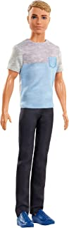 Barbie Dreamhouse Adventures Ken Doll, Approx. 12-Inch, in Gray-Blue Shirt and Black Pants, Gift for 3 to 7 Year Olds