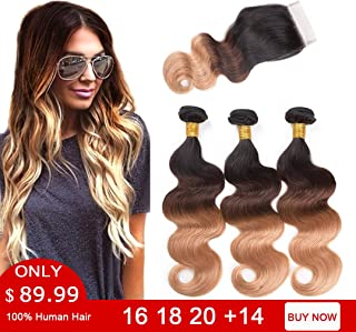 Ombre Bundles with Closure Body Wave 3 Bundles 10A Brazilian Virgin Human Hair Bundles with 4X4 Lace Closure Free Part (16 18 20 with 14 Inch Closure, 1B#/4#/27#)