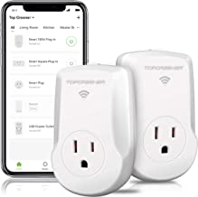 TOPGREENER Smart Plug with Energy Monitoring, 15A, 1800W, No Hub Required, Works with Alexa and Google Assistant, 2-Pack