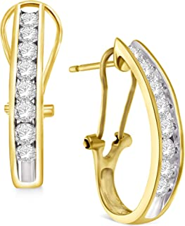 Gold and Diamond 1.00ctw Hoop Earrings, Channel Set Round or Baguette, Choice of White, Yellow or Rose Gold