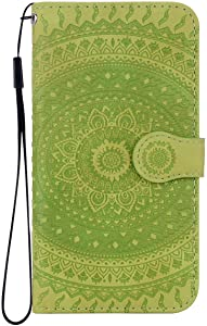 Reevermap Samsung Galaxy A40 Case Leather  Protective Wallet Flip Embossed Mandala Premium Kickstand Magnetic Buckle Notebook Cover for Samsung Galaxy A40  Green