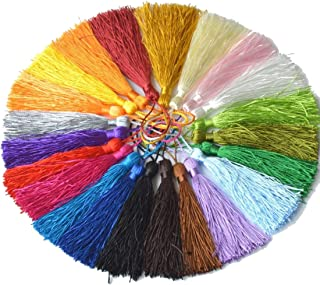 Thick Handmade DIY Tassels 100Pcs Multicolored Mini Tassels for Bookmarks Souvenir Jewelry Making, DIY Craft Accessory (25Colors, 5 Inches)