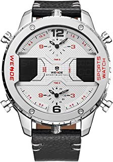 WEIDE WH6401 Dual Display Two Movement Quartz Digital Men Watch Luminous Sports 3ATM Waterproof 53mm Big Dial Large Face W...