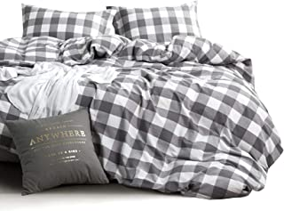 Wake In Cloud - Washed Cotton Duvet Cover Set, Buffalo Check Gingham Plaid Geometric Checker Pattern Printed in Gray Grey ...