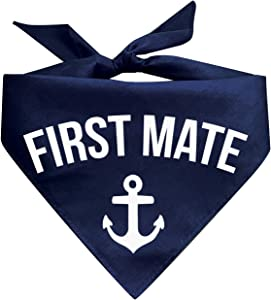 Summer Boat Dogs Matching Dog Bandanas (Captain Crew & First Mate) (Navy Blue)