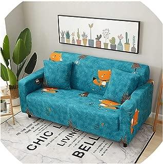 Sofa Cover Colorful Sofa Loveseat Cover Slipcover High Elastic Tight Wrap Anti-Slip Furniture Protector Decoration 1/2/3/4 Seater,Cute Fox,4 Seat (235-300Cm)