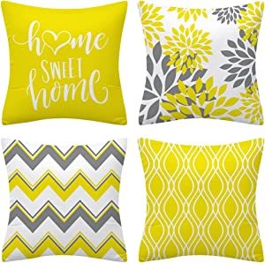 Drmstow Lemon Yellow Geometric Throw Pillows Cover 18x18 Set of 4 Outdoor Decorative Sofa Pillow Case Cushion Covers for Couch Living Room Bed Patio Furniture Home Decor