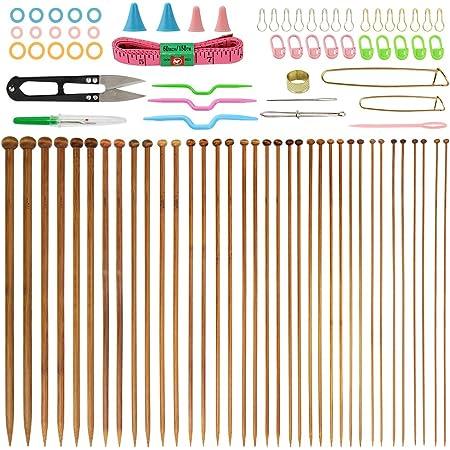 BUZIFU 36Pcs Aiguille de Bambo, Aiguilles Bambou à Tricot de 18 Paire de Aiguilles à Tricoter de 2– 10MM avecAccessoires pour Débutants et Professionnels (35CM)