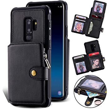 Samsung S9 Zipper Wallet Case for Women/Men,Kudex Leather Flip Folio Book Credit Card Holder Shockproof Full Body Protective Coin Money Pocket Purse Kickstand Case Cover for Samsung Galaxy S9 (Black)