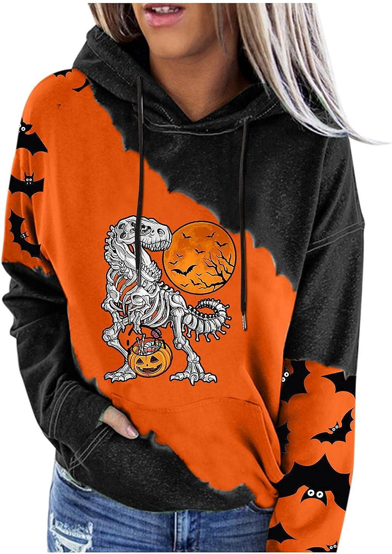 Hoodies for Women,Womens Halloween Sweatshirts Hoodies Bat Pumpkin Graphic Shirts Fashine Teen Girls Pullover