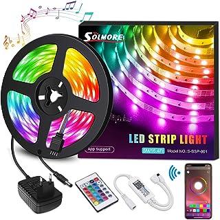 Ruban LED Bleutooth, SOLMORE Bande LED 5M 5050 RGB 150 LEDs, Contrôlé par APP du Smartphone, Synchroniser avec Rythme de M...