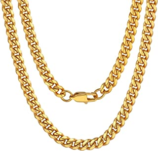 ChainsPro Men Chunky Miami Cuban Chain Necklace, Custom Available, 6/9/14mm Width, 18/20/22/24/26/28/30inch Length, Gold P...