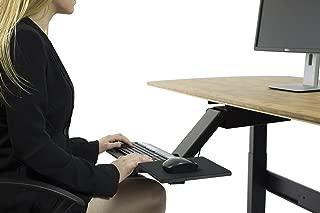KT2 Ergonomic Under-Desk Keyboard Tray w/ Large Adjustable Height Range + Negative Tilt best sit stand standing desk computer stand holder drawer shelf pull slides out sliding angle swivels 360