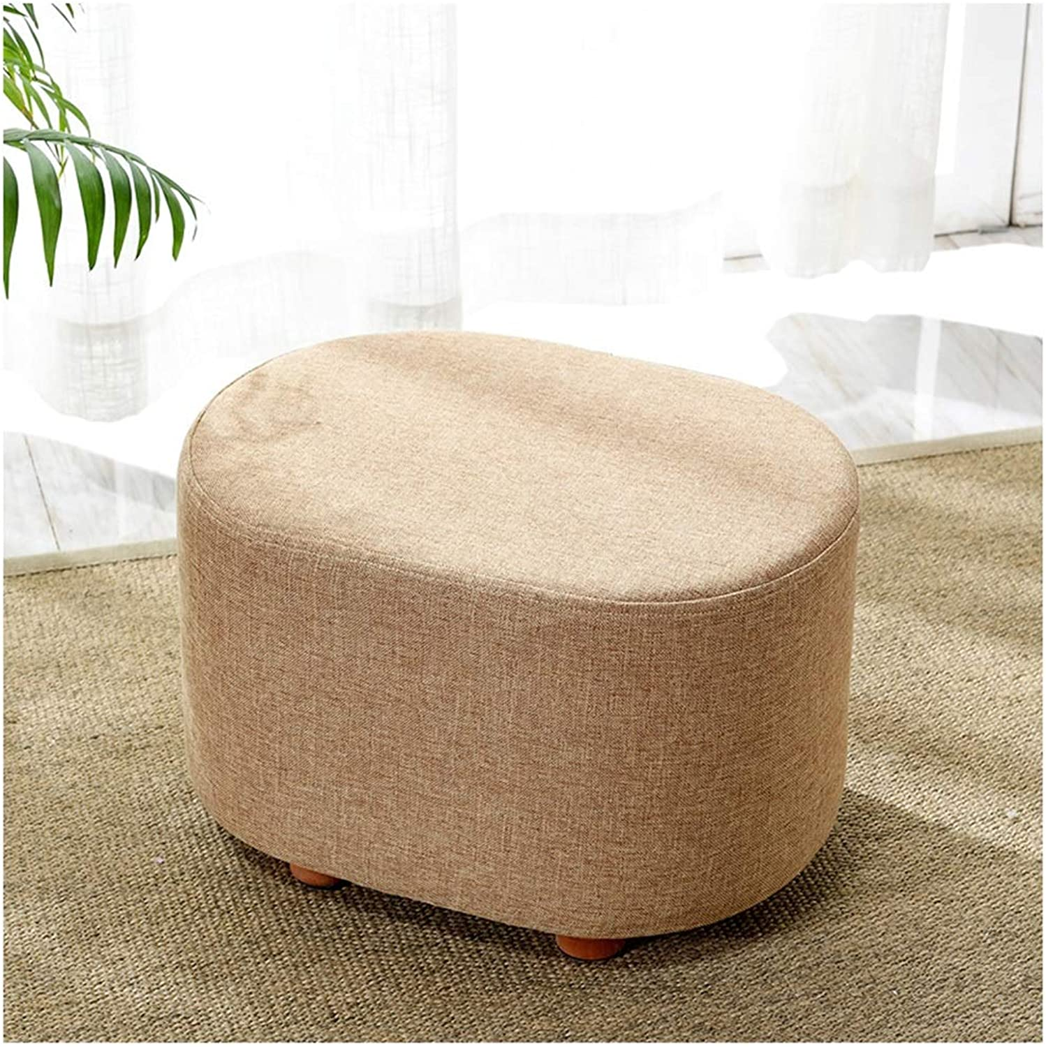 SMC stool Modern Creative Fabric Solid Wood shoes Stool Stool Sofa Stool (color   Brown)