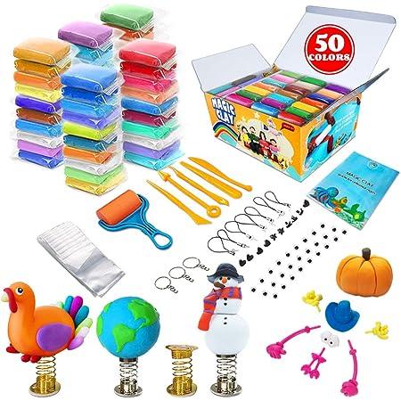 Kit d'argile à modeler - 50 couleurs d'argile magique séchant à l'air, argile à mouler ultra douce pour le bricolage, artisanat pour enfants, meilleur cadeau pour les garçons et les filles
