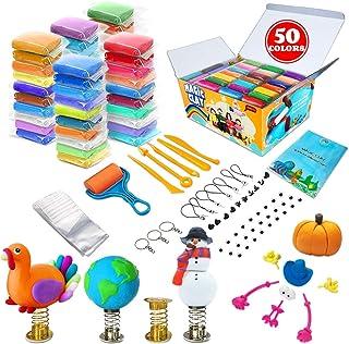 Kit d'argile à modeler - 50 couleurs d'argile magique séchant à l'air, argile à mouler ultra douce pour le bricolage, arti...