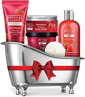 Bryan & Candy New York Strawberry Bath Tub Kit for Complete Home Spa Experience (Shower Gel, Hand & Body Lotion, Sugar Scr...