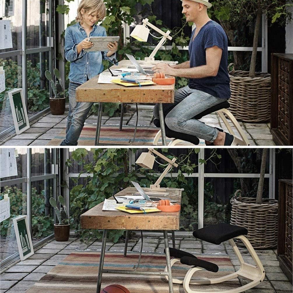 SMLZV Genoux Chaise, correction Posture Tabouret en bois for Home Office, Rocking Kneel Siège avec genouillères orthopédiques souples (Color : A) A