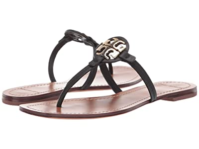 Tory Burch Mini Miller Leather Thong (Perfect Black) Women