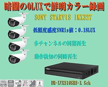 0ルックスの暗闇で30m先カラー監視 4IN1スターライト2MP LED付タイプ 4台とXVR 8chのセット 優れた分割画面の同期再生と動作検知の同期再生ができます 使い易い再生を好まれる方にお勧めします 暗闇の0LUXの夜間に鮮明カラー監視 画像センサーの低照度感度SNR1s値が最高の0.18LUX 屋外設置IP66対応 安心の2年保証 HDDなし。
