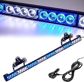 Blue/White Emergency Strobe Light Bar 36 Inch 13 Flash Patterns Traffic Advisor Warning Hazard Windshield Light Bar Safety Lights with Cigar Lighter for Police Vehicles, Cops Truck (35.5 Inch,32 Led)
