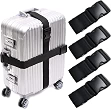 WeTest 4-Pack Adjustable Luggage Straps with ID Label, Suitcase Belts for Travel, 75 Inch, Black