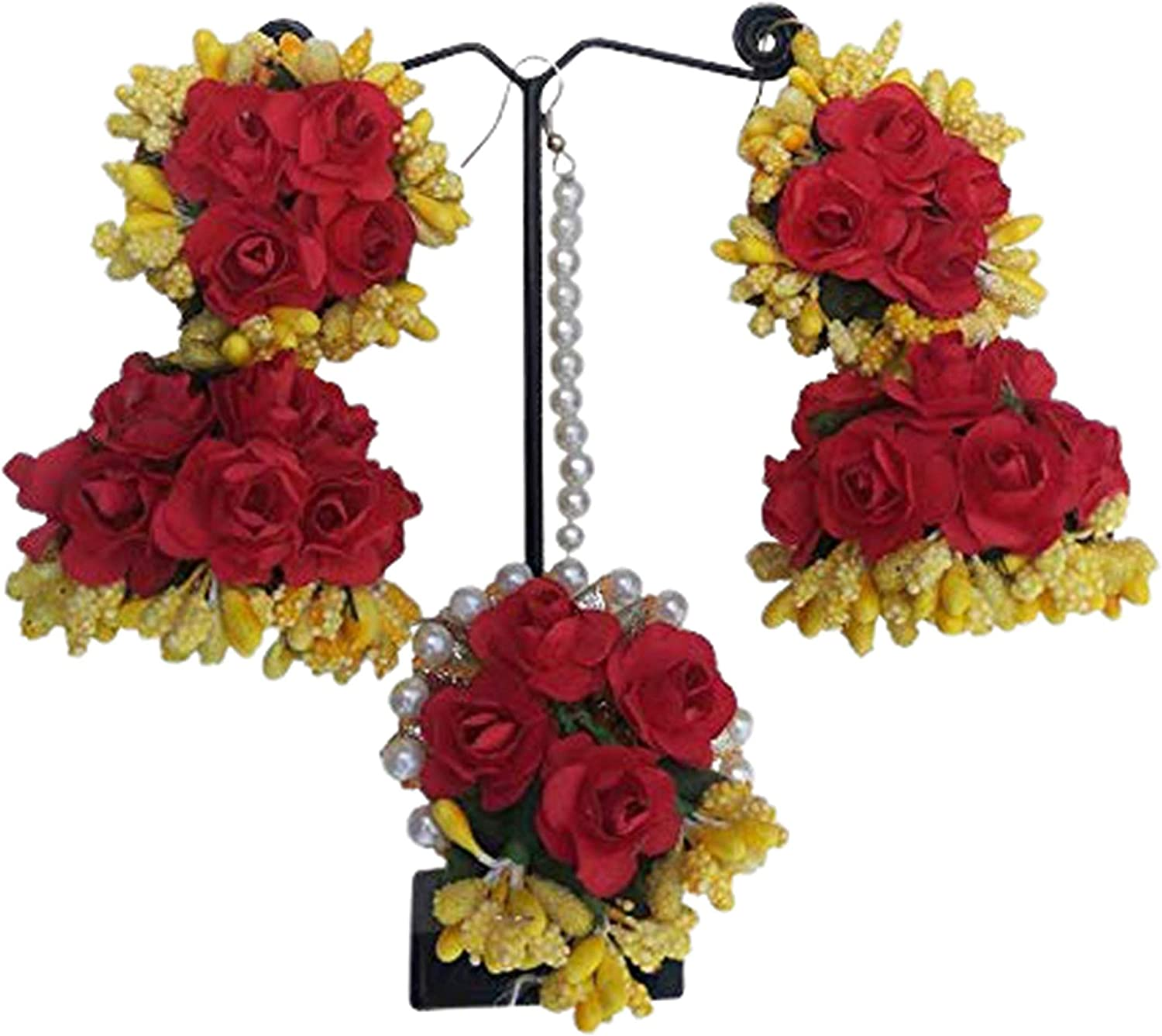 Riya Handicraft Women's Flower Maang Tikka and Earrings Jewelry Set for Wedding Baby Shower Haldi Mehandi Party in Yellow and Red Colour