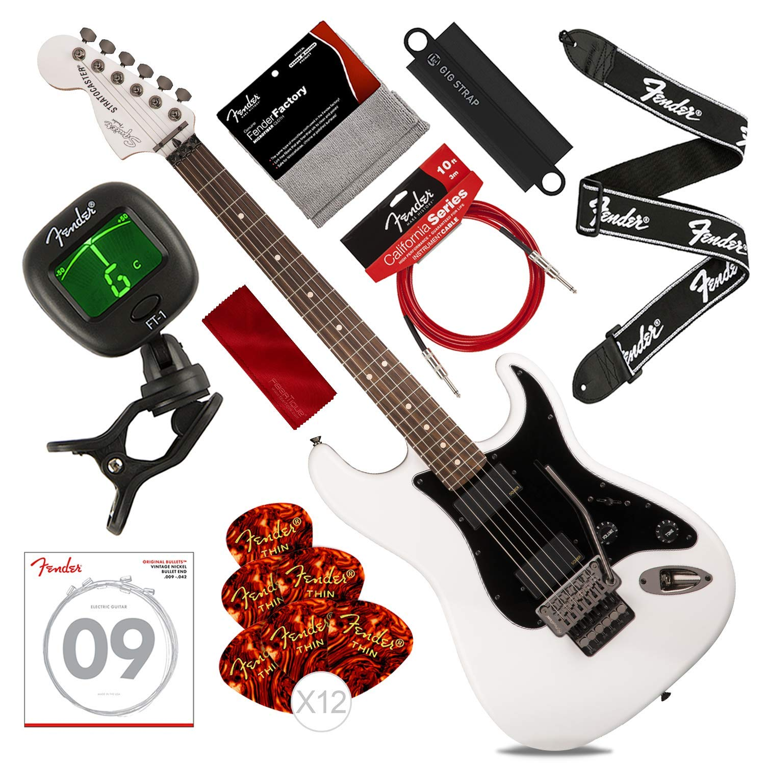 Cheap Squier by Fender Contemporary Active Stratocaster Electric Guitar HH Olympic White with Strap Massaging Strap Attachment Picks Strings & Deluxe Bundle Black Friday & Cyber Monday 2019