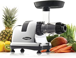 Omega J8008C Juicer Extractor and Nutrition Center Creates Fruit Vegetable and Wheatgrass Juice Quiet Motor Slow Masticating Dual-Stage Extraction AUT, 200-Watt, Metallic