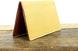 Yellow Leather Minimalist Wallet with RFID Blocking