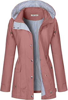 BBX Lephsnt Women's Waterproof Jacket Hooded Lightweigth Raincoat Active Outdoor Trench Coat
